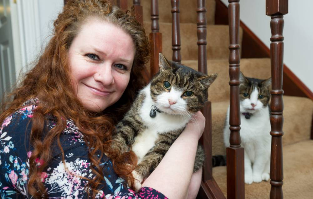 Toby the cat age 16 with owner Jemma Lough from Yaxley and Toby's mum Jackie age 18. Toby went missing 12 years ago from Jemma's home in Braintree, Essex. See MASONS story MNCAT; A missing cat has been reunited with its owner and own elderly mother - a remarkable TWELVE years after he disappeared. Jemma Lough, 43, had given up all hope of seeing her beloved Toby again when he failed to return home one day in 2002. More than a decade passed and Jemma met her future husband Ant, 40, and they set up home 70 miles away from where she had been living. She was astonished when she got an answerphone message from a vet saying Toby, now 16 year-old, had been brought in.