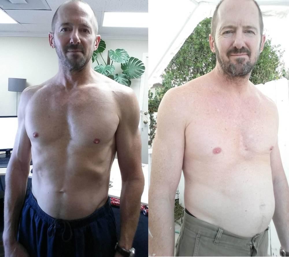 PIC BY MERCURY PRESS (PICTURED: GEORGE PRIOR BEFORE (L) AND AFTER (R)) This is the guy who has been on a diet of 10 cans of Coca-Cola a day for a month and has put on TWO STONE to prove it. Fit George Prior decided to challenge himself to drink multiple cans to show the effects of the amount of sugar in the world's most popular drink. The clear impact of sugar on his weight is shocking. In 30 days, George, 50, transformed from having a healthy and muscular physique to having a protruding stomach and expanded waistline. As well as the fast weight gain, the married father-of-two feared he was becoming addicted to Coca Cola because of feeling intense cravings. SEE MERCURY COPY