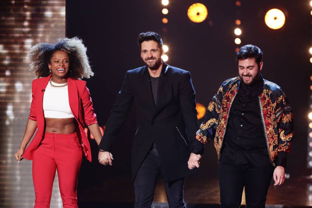 *** MANDATORY BYLINE TO READ: Syco / Thames / Corbis ***<BR /> Fleur East, Ben Haenow, Andrea Faustini Credit: Tom Dymond/Syco/Thames/Corbis <P> Pictured: Fleur East, Ben Haenow, Andrea F <B>Ref: SPL907222  071214  </B><BR /> Picture by: Dymond / Syco / Thames / Corbis<BR /> </P>