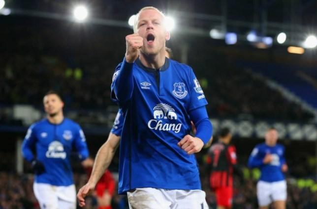 LIVERPOOL, ENGLAND - DECEMBER 15:  Steven Naismith of Everton celebrates scoring their third goal during the Barclays Premier League match between Everton and Queens Park Rangers at Goodison Park on December 15, 2014 in Liverpool, England.  (Photo by Alex Livesey/Getty Images)