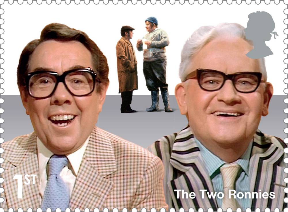 Undated handout photo issued by Royal Mail of the Two Ronnies, Ronnie Corbett and Ronnie Barker, featuring on a stamp, as part of the comedy greats series to come out in April. PRESS ASSOCIATION Photo. Issue date: Saturday December 27, 2014. See PA story INDUSTRY Stamps. Photo credit should read: Royal Mail/PA Wire NOTE TO EDITORS: This handout photo may only be used in for editorial reporting purposes for the contemporaneous illustration of events, things or the people in the image or facts mentioned in the caption. Reuse of the picture may require further permission from the copyright holder.