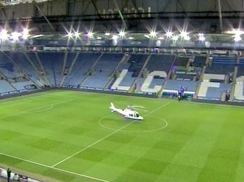 Leicester City owner Vichai Srivaddhanaprabha leaves match via helicopter from centre circle