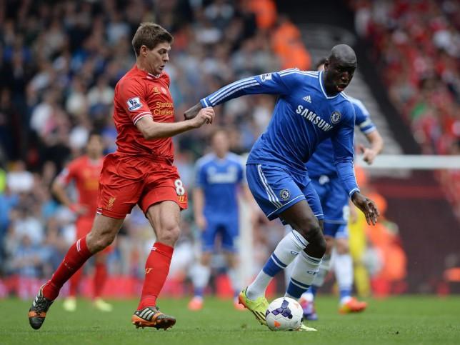 Captain Steven Gerrard's slip let Demba Ba put Chelsea 1-0 up at Anfield (Photo: Peter Powell)
