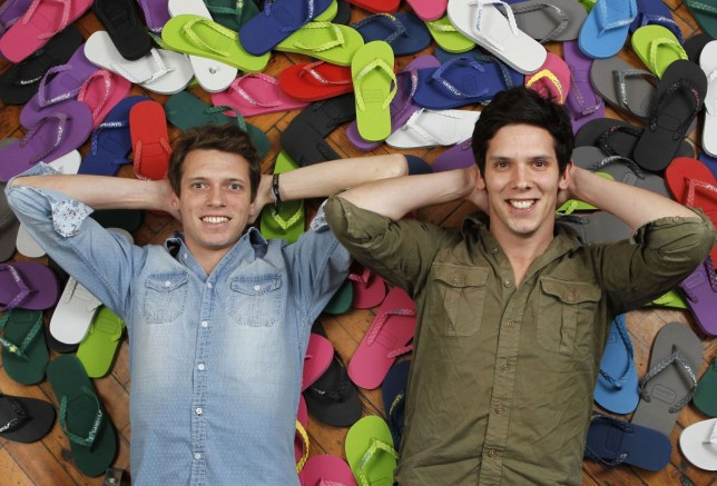 Paul and Rob Forkan, founders of Gandys Flip Flops with some Gan