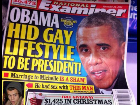 Did US tabloid National Examiner claim Barack Obama and Harry Styles had a gay affair? No, not really