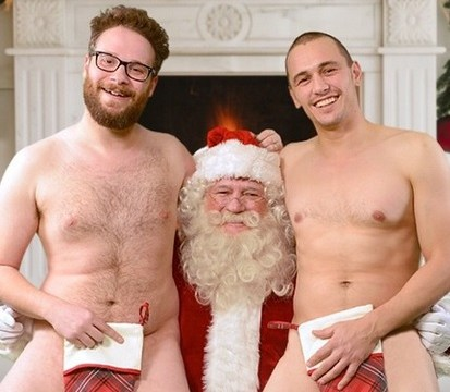 James Franco and Seth Rogen posed naked with Santa Claus for Christmas
