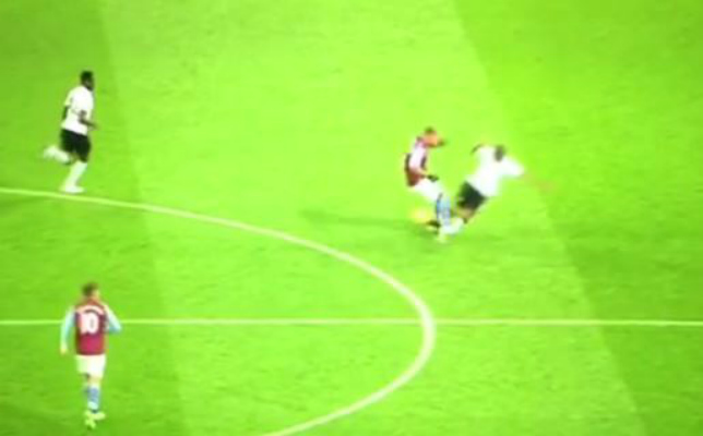 Gabriel Agbonlahor gets ridiculous red card for tackle on Manchester United's Ashley Young