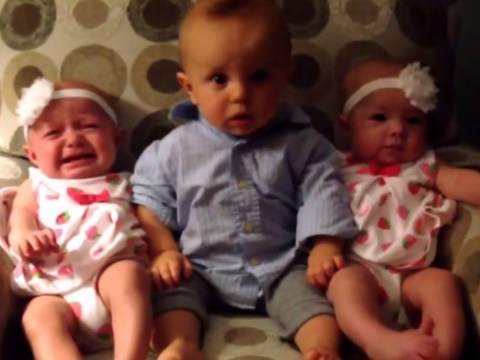 Baby boy meets identical twins for the first time, is understandably baffled