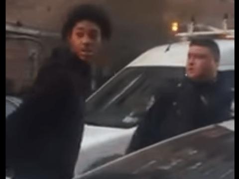 Plain clothes policeman punches suspect, despite woman shouting 'He's 12, he's 12!'