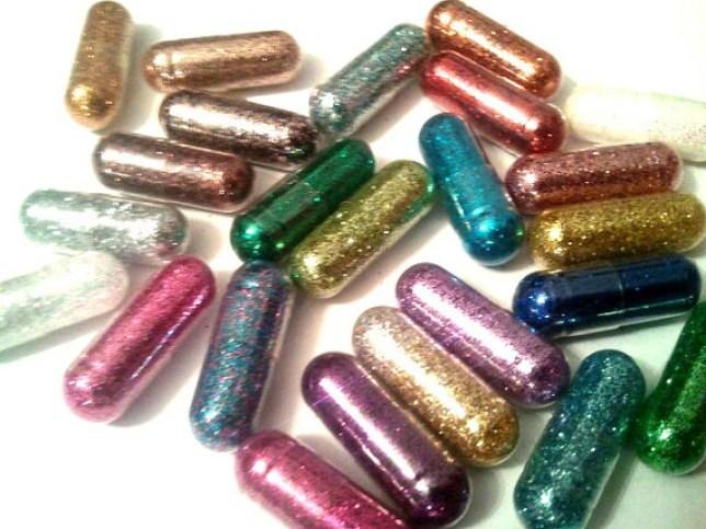 rainbow glitter pills