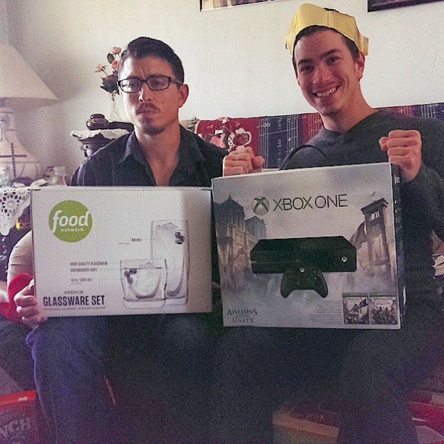 Older brother gets glass set whilst his brother gets Playstation