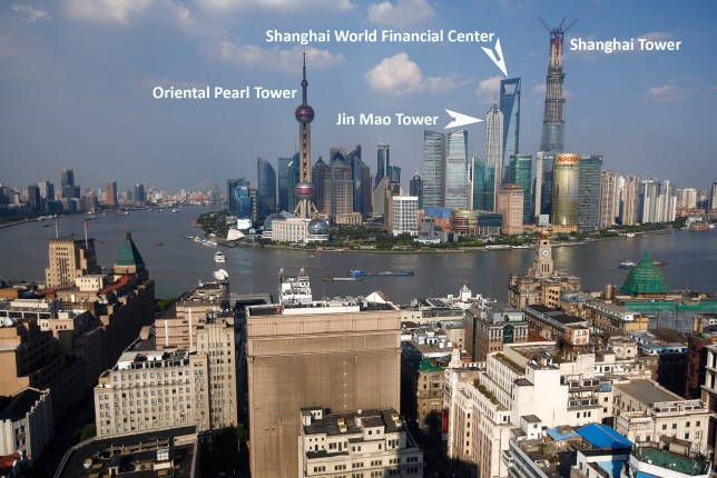 The financial district of  Pudong in Shanghai, with the city's tallest buildings marked (Graphic: Metro)