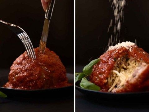 This epic spaghetti inside a meatball recipe will mess with your head