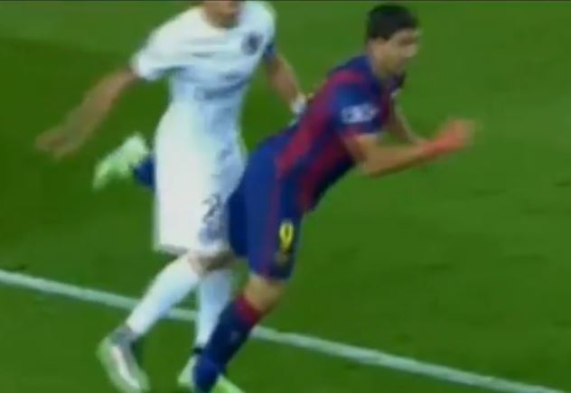Ex-Liverpool striker Luis Suarez is up to old tricks at Barcelona with dirty tackle on PSG's Thiago Silva