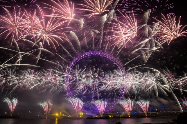 London's 2015 New Year fireworks display at the London Eye. Taken from the RAF statue on the North bank of the River Thames. Featuring: View Where: London, United Kingdom When: 01 Jan 2015 Credit: Peter Maclaine/WENN.com