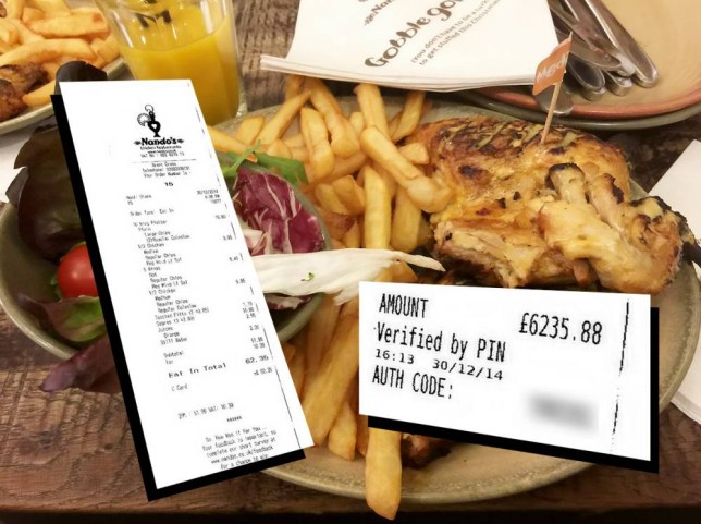 Collect photo of businessman Aurel Lupsa (doub corr) chicken meal. A family got a massive shock when they were accidentally charged more than   6000 for a meal    at NANDO  S. Instead of paying the   62.35 bill, businessman Aurel Lupsa (doub corr) mistakenly paid 100 more    leaving a whopping   6,235.88 tip. Thankfully, just as the group were leaving the fast food restaurant, a member of staff rushed over and told Aurel, 43, there was a mistake and he had paid too much and gave him a refund on his   6235 payment. He said:   We eat at Nando  s all the time, but I  ve never had anything like this at all.   I didn  t really notice I was overpaying, to be honest.   It was a nice meal and everything was fine    just the sort of experience anybody would come to expect from a restaurant.   Just as we were leaving, the server rushed over and said there had been a mistake    I couldn  t believe it when they said I overpaid by more than   6000.   I  m definitely going to pay more attention in the future. Aurel, a telecoms company director, visited the Brent Cross branch of the popular chicken restaurant chain with his wife Bianca Minolachi (corr), also 43, their seven-year-old daughter Evelyn and his niece and her husband. The table-of-five dined out on wings and Peri Peri chicken, before generous Aurel settled the bill as a festive treat for his family on December 30. Aurel, of Barnet, north London, added:   I can  t believe the most expensive meal of my life was at Nando  s.   It  s good chicken, but it  s not that good.