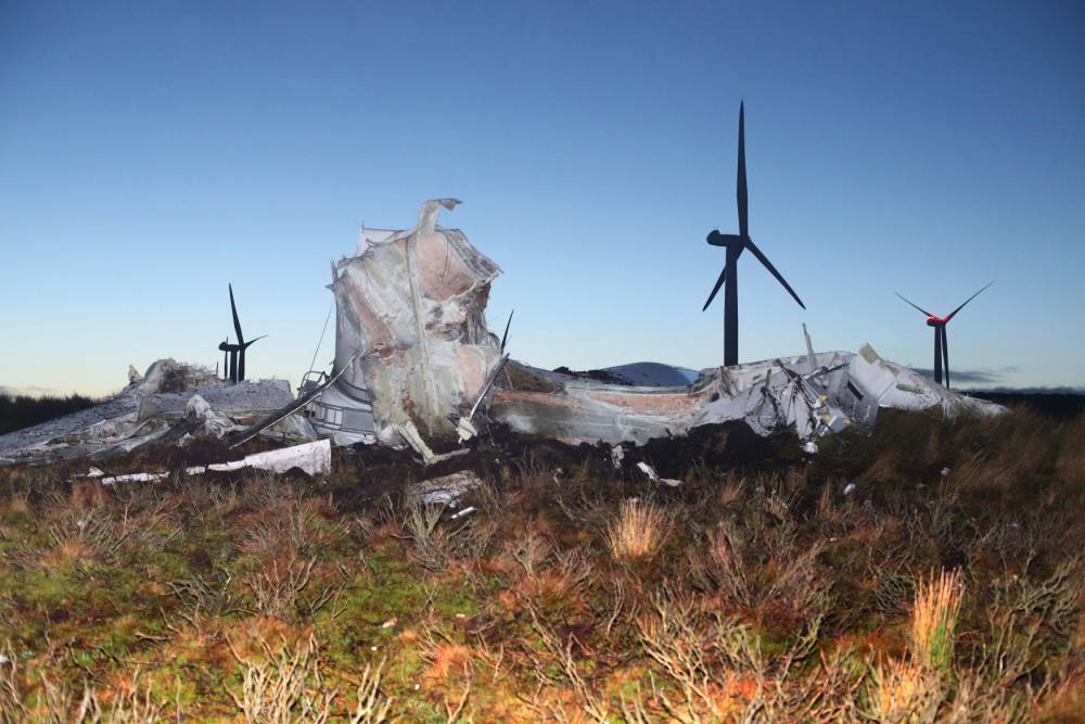 A wind turbine which collapsed at Screggagh wind farm, County Tyrone on Friday evening. PRESS ASSOCIATION Photo. Picture date: Saturday January 3, 2015. Photo credit should read: Niall Carson/PA Wire
