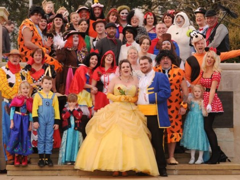 Couple have the ultimate Disney wedding – Elsa, Goofy and Tinkerbell all make the reception