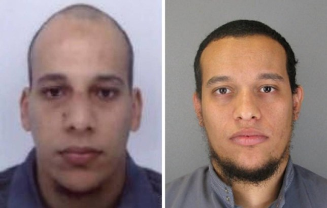 "This combo shows handout photos released by French Police in Paris early on January 8, 2015 of suspects Cherif Kouachi (L), aged 32, and his brother Said Kouachi (R), aged 34, wanted in connection with an attack at the satirical weekly Charlie Hebdo in the French capital that killed at least 12 people. French police on January 8 published photos of the two brothers wanted as suspects over the bloody massacre at the magazine in Paris as they launched an appeal to the public for information.   AFP PHOTO / FRENCH POLICE -- EDITORS NOTE --- RESTRICTED TO EDITORIAL USE -- MANDATORY CREDIT ""AFP PHOTO / FRENCH POLICE"" NO MARKETING - NO ADVERTISING CAMPAIGNS -- DISTRIBUTED AS A SERVICE TO CLIENTSFRENCH POLICE/AFP/Getty Images"