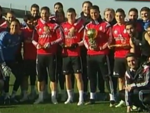 Real Madrid mock Cristiano Ronaldo's Ballon d'Or 'war cry' while posing for picture with trophy