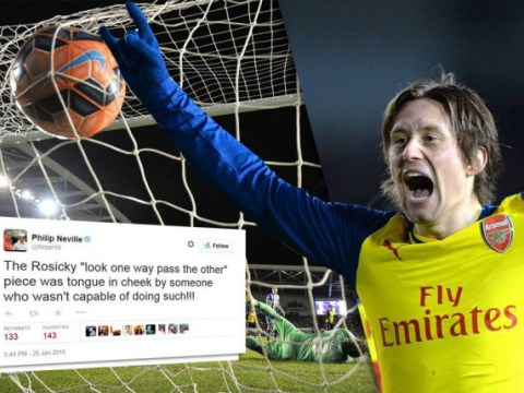 BBC warn pundits after Phil Neville's 'two-foot' outburst on Arsenal's Tomas Rosicky