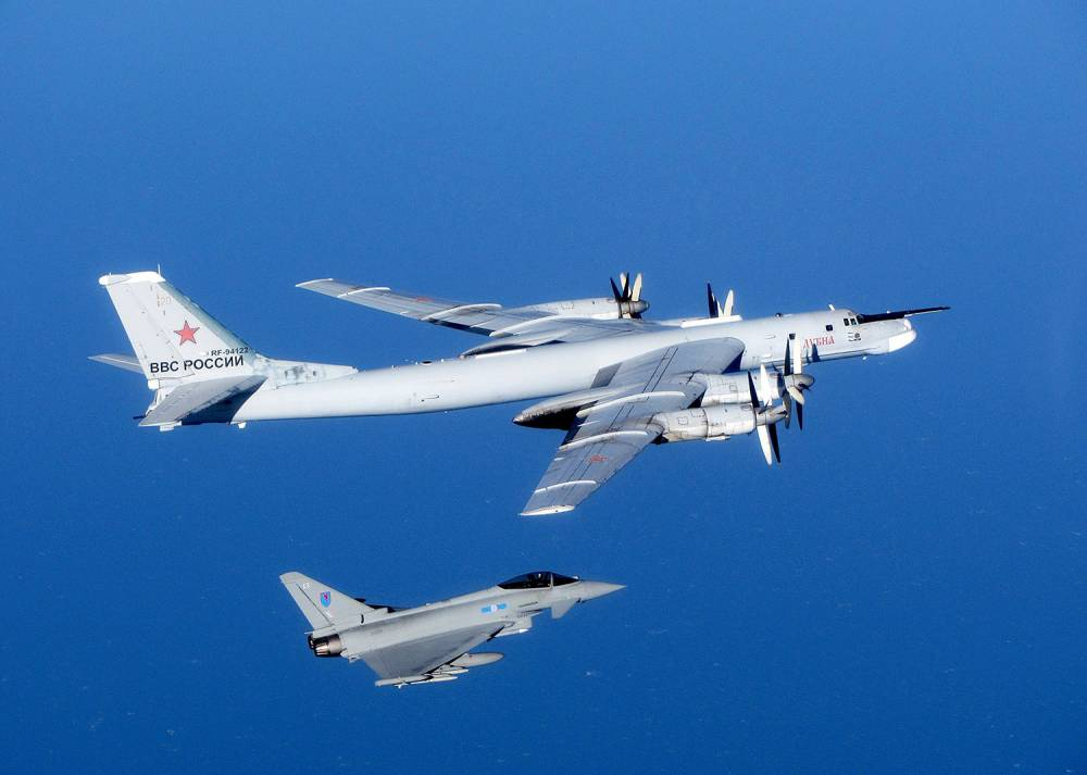 A Russian Bear aircraft is escorted by a Royal Air Force Quick Reaction Alert (QRA) Typhoon during an intercept in September 2014.    Royal Air Force aircraft at RAF Lossiemouth launched the Quick Reaction Alert (QRA) for the first time since the Moray base took on the role of defending the UK s Northern airspace. Typhoon jets were scrambled to identify aircraft in international airspace. The aircraft, identified as Russian military  Bears , did not enter UK airspace.