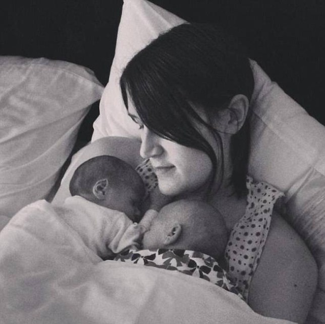 Hayley with her twins, Avery and Darcey (Picture: Facebook)