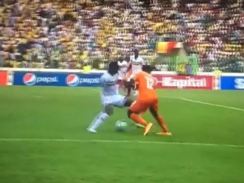 Manchester City's Wilfried Bony bamboozles Mali defender with 'elastico nutmeg' for Ivory Coast at African Cup of Nations