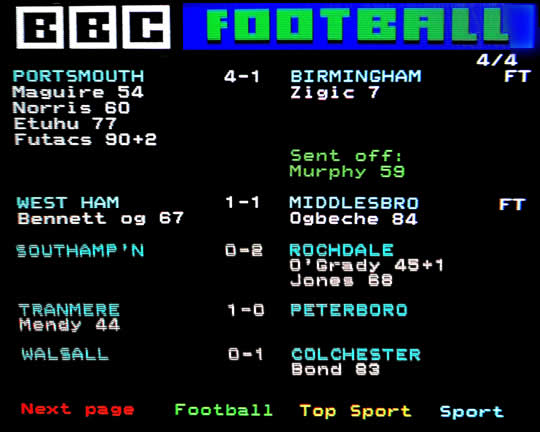 Ceefax Football Results