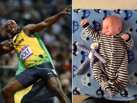 Usain Bolt rating babies' lightning bolt poses on Twitter is brilliant