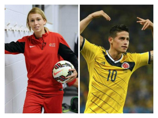 Puskas rivals: Stephanie Roche and James Rodriguez compete with Robin van Persie for goal of the year (Picture: AFP Getty(