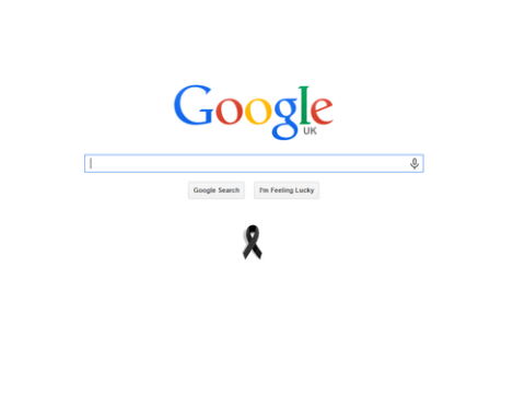 Google pays respects to Charlie Hebdo victims with black ribbon on homepage