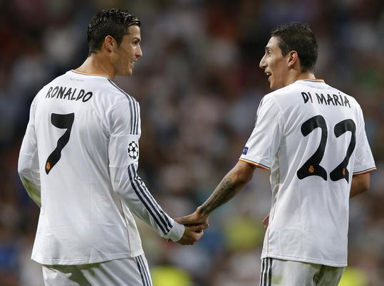 Cristiano Ronaldo and Angel Di Maria during their Real Madrid days