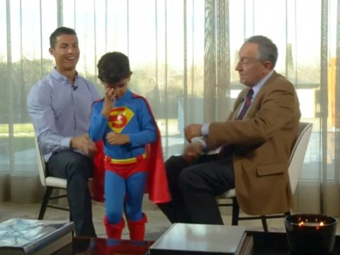 Cristiano Ronaldo's son interrupts dad's interview dressed as Superman