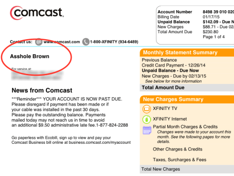 Couple finds their name changed to 'Asshole Brown' on cancelled TV bill