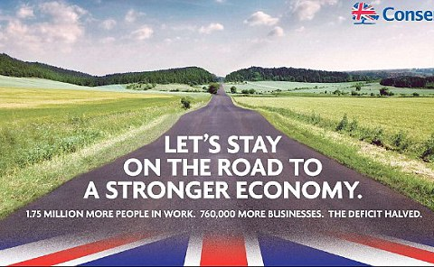 Conservative general election poster is actually a photo-shopped road in Germany