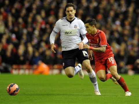 Bolton Wanderers player Dorian Dervite proves he couldn't hit a barn door against Liverpool