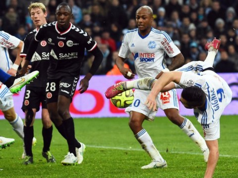 Liverpool target Andre-Pierre Gignac shows his class with overhead dummy kick for Marseille