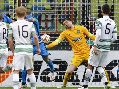 Celtic goalkeeper Craig Gordon pulls out spectacular point-blank save during Europa League tie v Inter Milan