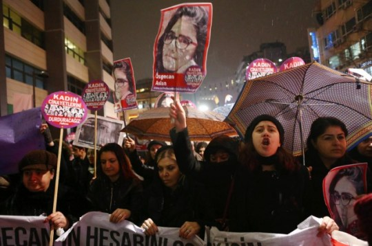 Women at one of the many protests that have taken place in Turkey following the murder of Ozgecan Aslan (Picture: Getty)