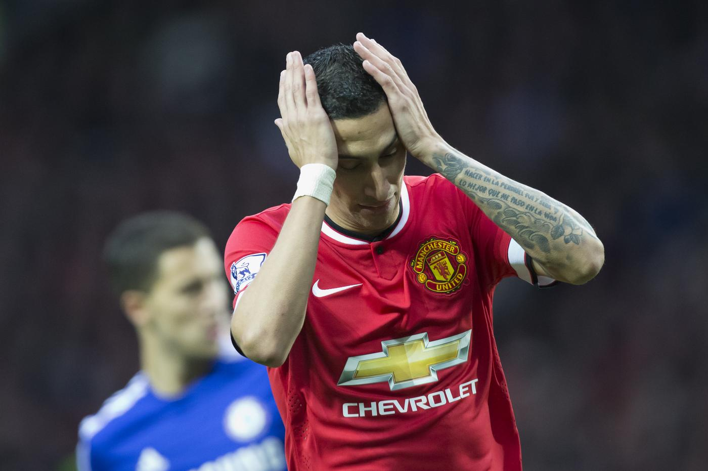 Manchester United's Angel Di Maria reacts after a missed opportunity during his team's English Premier League soccer match between Manchester United and Chelsea at Old Trafford Stadium, Manchester, England, Sunday Oct. 26, 2014. (AP Photo/Jon Super) AP Photo/Jon Super