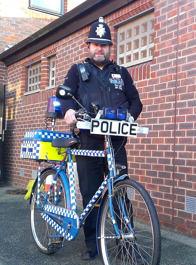 PC Mark Ellis and his impressive push bike (Picture: SWNS)
