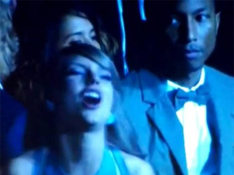 Not a fan then? Pharrell Williams gives Taylor Swift evils at Grammys