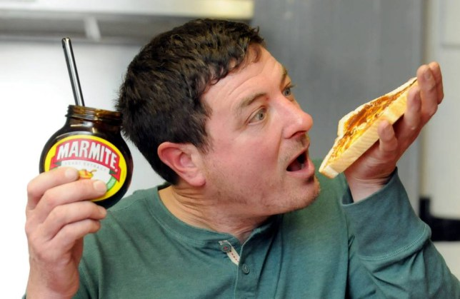 PIC FROM CATERS NEWS - (PICTURED: John Pearson has eaten Marmite with bread at least once for nearly every day of his life, as he is a very fussy eater) - A fussy eater says he is kept alive by his MARMITE addiction. Picky John Pearson will only eat 10 bland foods  including plain crisps, chips and chocolate cake  and has to top up his vitamin intake by eating a KILO of the yeast extract. Engineer John, from Burton-upon-Trent, Derbys, claims the love it or hate it condiment is the only reason he stays healthy. The 48-year-old spends a paltry 10 a week on his limited diet and was even nicknamed Breadroll when he was at school.
