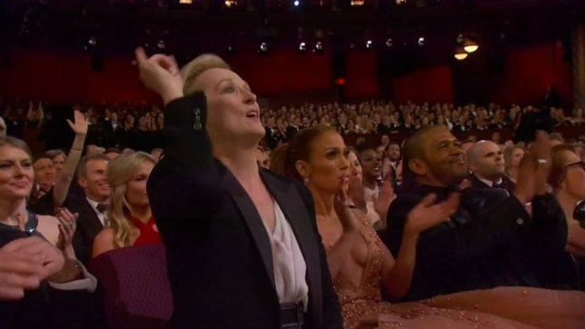 """22 February 2015 - Los Angeles - USA  **** STRICTLY NOT AVAILABLE FOR USA ***  Meryl Streep and Jennifer Lopez show their support for Oscar winner Patricia Arquette's speech for women's equal rights. The pair sat forward in their seat and cheered and Meryl punched the air with her finger as Arquette demanded equal rights for women as part of her Best Supporting Actress Oscar speech. Arquette. who won for her role in Boyhood, thanked her family and friends first before adding: """"To every woman who has given birth, to every taxpayer and citizen of this nation, we have fought for everybody else's equal rights, it's our time to have wage equality once and for all and equal rights for women in the United States of America."""" Arquette's Boyhood co-star Ethan Hawke also cheered and clapped along with many other celebs in the audience.   XPOSURE PHOTOS DOES NOT CLAIM ANY COPYRIGHT OR LICENSE IN THE ATTACHED MATERIAL. ANY DOWNLOADING FEES CHARGED BY XPOSURE ARE FOR XPOSURE'S SERVICES ONLY, AND DO NOT, NOR ARE THEY INTENDED TO, CONVEY TO THE USER ANY COPYRIGHT OR LICENSE IN THE MATERIAL. BY PUBLISHING THIS MATERIAL , THE USER EXPRESSLY AGREES TO INDEMNIFY AND TO HOLD XPOSURE HARMLESS FROM ANY CLAIMS, DEMANDS, OR CAUSES OF ACTION ARISING OUT OF OR CONNECTED IN ANY WAY WITH USER'S PUBLICATION OF THE MATERIAL.    BYLINE MUST READ : ABC/XPOSUREPHOTOS.COM    PLEASE CREDIT AS PER BYLINE *UK CLIENTS MUST CALL PRIOR TO TV OR ONLINE USAGE PLEASE TELEPHONE  44 208 344 2007"""