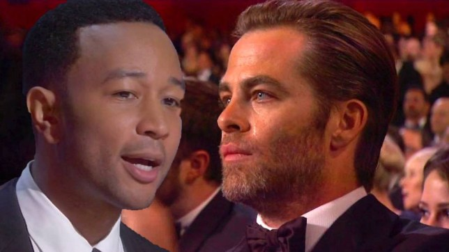 22 February 2015 - Los Angeles - USA  **** STRICTLY NOT AVAILABLE FOR USA ***  Actors David Oyelowo and Chris Pine left in tears after Common and John Legend perform their song Glory at the Oscars. British actor Oyelowo, who played the lead role of Martin Luther King in the movie Selma, had tears streaming down his face as the pair performed Glory, the lead song from Selma. Oprah Winfrey wiped away his tears before the camera cut to actor Pine who was also left crying for the performance. The song Glory later won an Oscar for Best Original Song and Common and Legend took to the stage to accept on behalf of the songwriters.   XPOSURE PHOTOS DOES NOT CLAIM ANY COPYRIGHT OR LICENSE IN THE ATTACHED MATERIAL. ANY DOWNLOADING FEES CHARGED BY XPOSURE ARE FOR XPOSURE'S SERVICES ONLY, AND DO NOT, NOR ARE THEY INTENDED TO, CONVEY TO THE USER ANY COPYRIGHT OR LICENSE IN THE MATERIAL. BY PUBLISHING THIS MATERIAL , THE USER EXPRESSLY AGREES TO INDEMNIFY AND TO HOLD XPOSURE HARMLESS FROM ANY CLAIMS, DEMANDS, OR CAUSES OF ACTION ARISING OUT OF OR CONNECTED IN ANY WAY WITH USER'S PUBLICATION OF THE MATERIAL.    BYLINE MUST READ : ABC/XPOSUREPHOTOS.COM    PLEASE CREDIT AS PER BYLINE *UK CLIENTS MUST CALL PRIOR TO TV OR ONLINE USAGE PLEASE TELEPHONE  44 208 344 2007