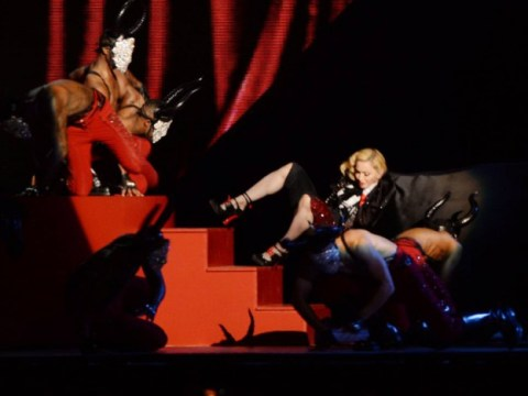 Brit Awards 2015: Cape-tastrophy as Madonna falls over on stage during live show