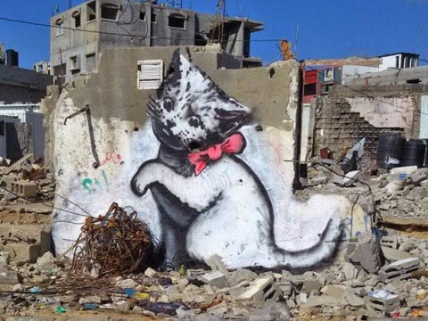 Banksy sneaked into Gaza to paint a picture of a cat