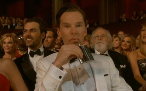 Benedict Cumberbatch is getting drunk at the Oscars and he wants to be left alone with his hip flask