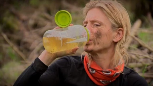 Emilia Fox, Max George and Mike Tindall glug down their own pee in new Bear Grylls: Mission Survive